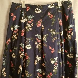 Dark Blue and Floral Skirt
